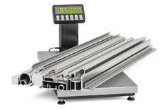 Rolled metal products on industrial scales, 3D rendering Stock Photos