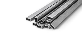 Rolled metal products. Steel profiles and tubes. 3d illustration Royalty Free Stock Images