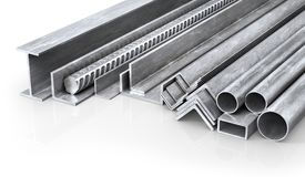 Rolled metal products. Steel profiles and tubes. 3d illustration Stock Photo