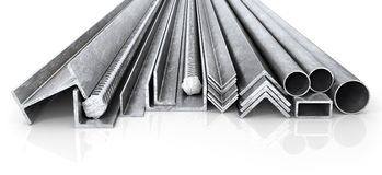 Rolled metal products. Steel profiles and tubes. 3d illustration Stock Photography
