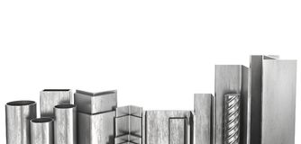 Rolled metal products. Steel profiles and tubes. 3d. Illustration Stock Images