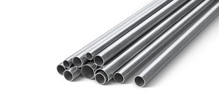 Rolled metal products. Steel profiles and tubes. 3d illustration Stock Image