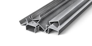 Rolled metal products. Steel profiles and tubes. 3d illustration royalty free illustration