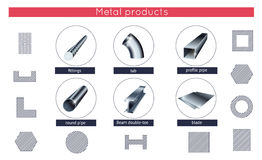 Rolled metal products vector icons set Royalty Free Stock Images