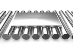 Rolled metal, sheet on rounds Stock Image
