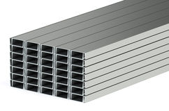 Rolled metal steel channels Stock Image