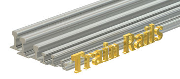 Rolled metal, train rails. 3D rendering. On white background Royalty Free Stock Images