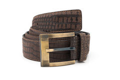 Rolled Mock Crocodile Leather Belt Stock Photography