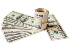 Rolled money cutout on a background dollars Royalty Free Stock Photo