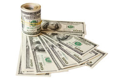 Rolled money cutout on a background dollars Stock Images