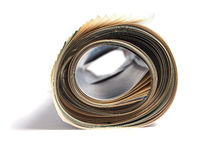 Rolled newspaper. Roll of newspaper isolated on white background Royalty Free Stock Images