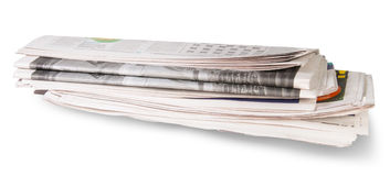 Rolled Of The Newspaper. Isolated On White Background Stock Images