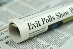 Rolled newspaper with Election 2016 article. Royalty Free Stock Image