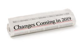 Rolled newspaper with the headline Changes coming in 2019 royalty free stock photo