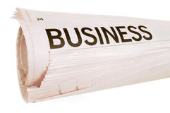 Rolled newspaper Stock Image