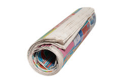 Rolled newspapers. Isolated on white stock images