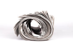 Rolled Newspapers. Isolated on whitebackground Stock Image