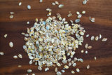 Rolled oatmeal or oats, portion for breakfast Royalty Free Stock Photography
