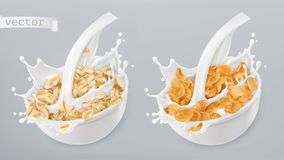 Rolled Oats And Milk Splashes. Corn Flakes. 3d Vector Icon Set Royalty Free Stock Photography