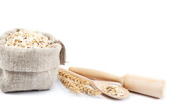 Rolled oats in a bag. Royalty Free Stock Photography