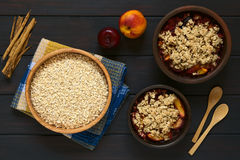 Rolled Oats with Baked Fruit Crumbles Royalty Free Stock Photos