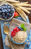 Rolled oats in a bowl with berries Royalty Free Stock Photo