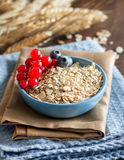 Rolled oats in a bowl with berries. Rolled oats in a blue bowl  with berries and wheat spikes Royalty Free Stock Photo