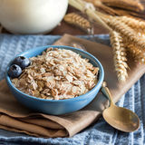Rolled oats in a bowl with berries and milk Royalty Free Stock Photo