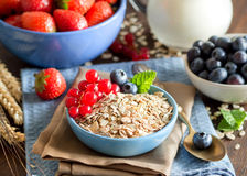 Rolled oats in a bowl with berries and milk Royalty Free Stock Images