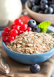 Rolled oats in a bowl with berries and milk Stock Image