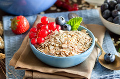 Rolled oats in a bowl with berries and milk Royalty Free Stock Photos