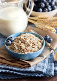 Rolled oats in a bowl. Rolled oats in a blue bowl with berries and milk Royalty Free Stock Photography