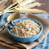 Rolled oats in a bowl. Rolled oats in a blue bowl on a napkin with spikes and spoon royalty free stock photos