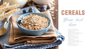 Rolled oats in a bowl with blueberries and milk Stock Photos