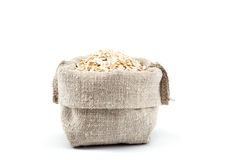Rolled oats in a canvas bag. Royalty Free Stock Photo
