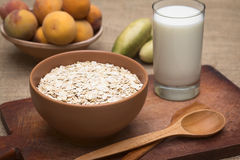 Rolled Oats with Glass of Milk Royalty Free Stock Image