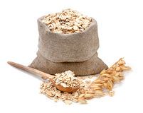 Free Rolled Oats In A Bag Isolated On White Background Stock Photos - 50977363