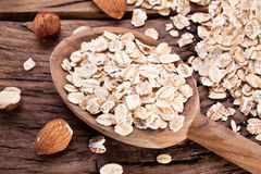 Rolled oats and nuts. Stock Image