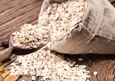 Rolled oats and nuts. Stock Images