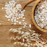 Rolled oats and oat ears of grain Royalty Free Stock Images