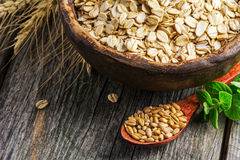 Rolled oats and oat grains Royalty Free Stock Images