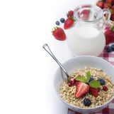 Rolled oats with strawberries, blueberries and milk for breakfas Royalty Free Stock Photos