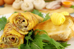 Rolled Omelette And Toast Stock Images