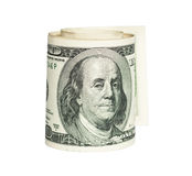 Rolled one Dolar bill Stock Photos
