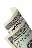 Rolled one hundred bill. On white background Stock Photo