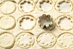From rolled out dough cut figured cookies. With help of metal cutter. Culinary background of dough with patterns in form of circles and flowers Royalty Free Stock Photos