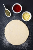 Rolled Out Pizza Dough Royalty Free Stock Image