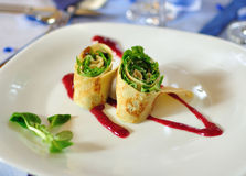 Rolled pancake appetizer on white a plate Royalty Free Stock Photography