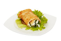 Rolled pancake with cheese Royalty Free Stock Photo