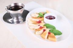Rolled pancake Stock Photo